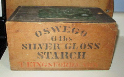 Antique Wooden Advertising Oswego Starch 6 Pound Box With Lid & Label