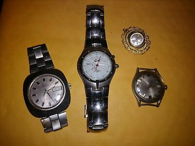 Lot of 3 Vintage Men's Wristwatches; 2 with stainless bands, and 1 ladies pendan