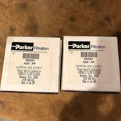 2 New Parker 930091 40W Pp Hydraulic Replacement Filters