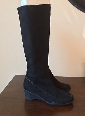 """740254a1993 NEW Aerosoles Ancestor Black 2"""" Wedge Faux Suede Knee High Boots ~ Women s 6"""