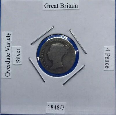 1848/7 Great Britain 4 Pence - Overdate Variety - Victorian Sterling Silver Coin