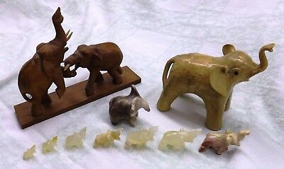 Lot of 10 Elephants figures, Carved, Clay and Quartz