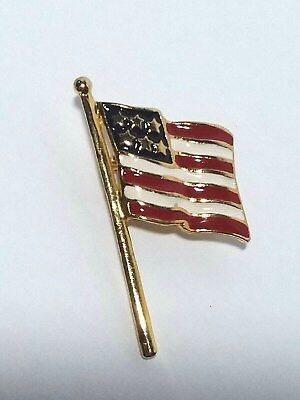 VINTAGE Enamel FLAG PIN Patriotic Jewelry RED WHITE BLUE GOLD
