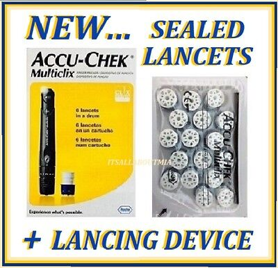 NEW Adjustable Accu-Chek MULTICLIX Lancing Device + 102 Sealed Lancets, ROCHE