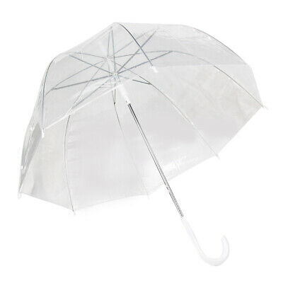 Bulk Lot x 12 Dome Clear Transparent Wedding Umbrella White Handle Birdcage
