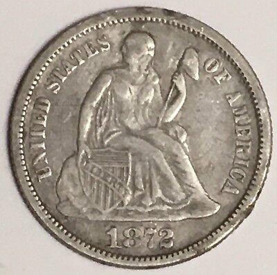 1872-P U.S. Liberty Seated Dime 90% Silver Coin ~ Legend On Obverse (L711)