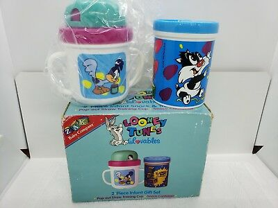 HTF NIB Vintage Looney Tunes Lovables 2 Piece Infant snack and travel Set 1996