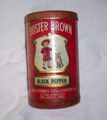 Vintage Buster Brown Black Pepper cardboard container St. Louis Jas.A.Forest Tea