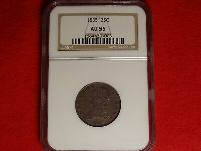 1835 Capped Bust Quarter Ngc Au55 Choice Almost Uncirculated Early 25C Type Coin