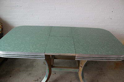 Vintage 1950 Mid-Century Retro Formica Chrome Dinette Kitchen Table Green Marble