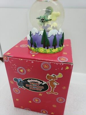 Vintage Rocky and Bullwinkle mini snow water globe. Westland retired squirrel