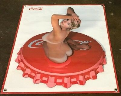 Coca Cola poster vintage girl bottle cap banner store sign figure model