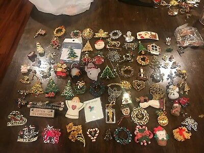 Great Lot Of 90 Vintage Unmarked Christmas Pins And Earrings Nice