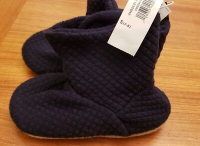 NWT Old Navy Toddler Boys 7-8 Quilted Jersey Bootie Slippers NAVY BLUE #15419
