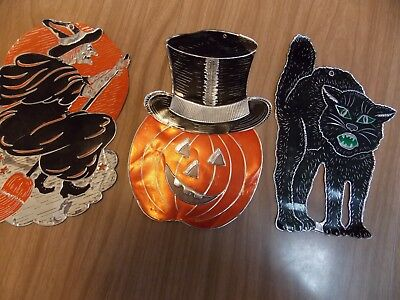 Lot of Three Vintage Foil Halloween Decorations