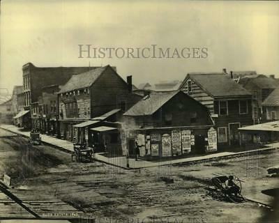 1926 Press Photo Intersection Of Pine and Montgomery, San Francisco, ca. 1860