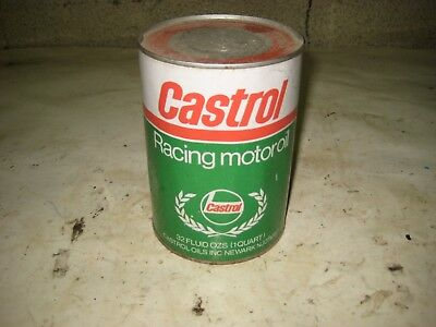 Vintage 1 Quart Metal Castrol Racing Motor Oil Can Full
