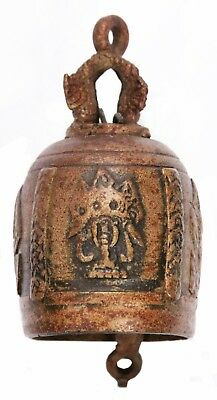 Vintage Small Thai Brass Buddhist Temple Bell Chime Elephant Buddha Naga Old