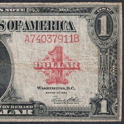 1923 $1 One Dollar United States Note Red Seal F/VF RARE (D114)