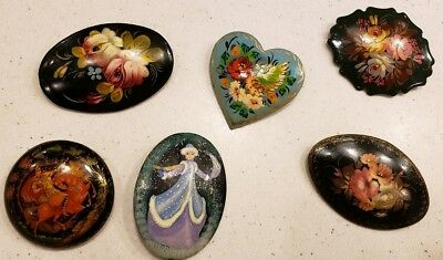 Lot of 6 Vintage Russian Hand Painted Lacquer Brooches