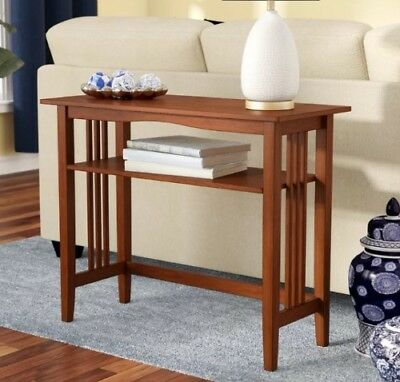 Mission Style Small Console Table Ash Finish 2 Tier Foyer