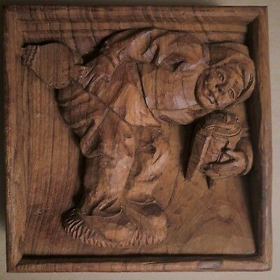 Medieval Themed Hand Carved Treasure/ THE SWEEP / Treen / Pediment / Misericord