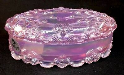 Fenton Art Glass Pink Carnival Oval Covered Box With Shell Flowers
