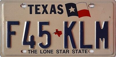USA Number Licence Plate TEXAS RH FLAG
