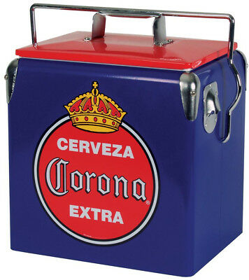 Corona Ice Chest Cooler 14 Qt. Stainless Steel Bottle Opener Thick Liner Chrome