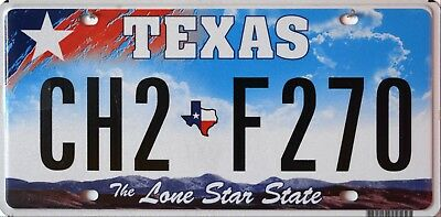 USA Number Licence Plate TEXAS THE LONE STAR STATE DARK BLUE SKY