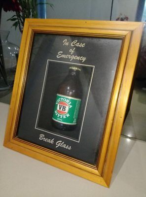 Victoria Bitter VB 250ml Bottle Framed, Mancave, Vintage, Old, Beer, Collectable