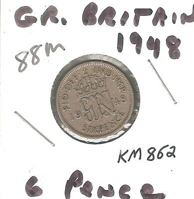 Great Britain 6 Pence 1948 KM862