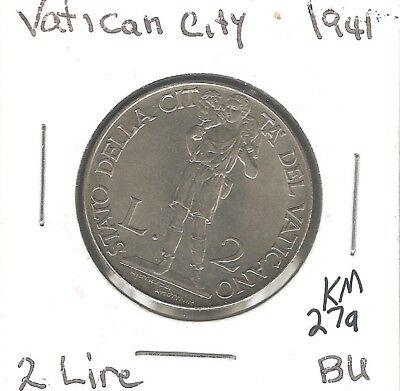 Vatican City 2 Lire 1941 KM27a Stainless Steel
