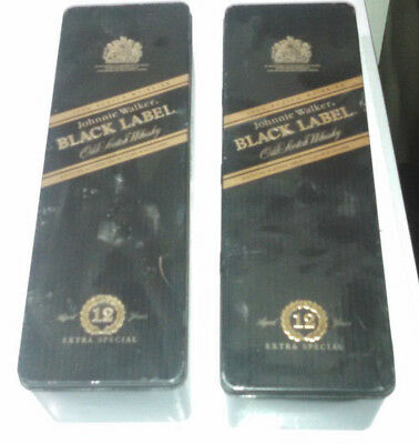 Johnnie Walker Black Label Old Scotch Whiskey Tin Can Empty Box set of 2