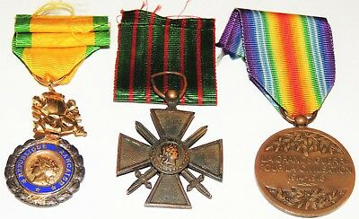WW1 WW2 World War One 3 Allied French Medals Victory 1914 1918 Croix dur Guerre