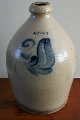Lyons 2 gallon antique stoneware jug w/ handle Lyons Rochester NY LOCAL PICKUP