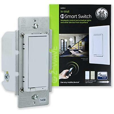 GE Z-Wave Light Switches Plus Smart Control Switch, Wall, Almond Paddles, & Hub