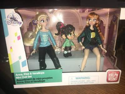 Anna Elsa Vanellope Princess Mini Doll Set Disney Store Wreck It Ralph