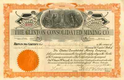 1903 Clinton Consolidated Mining Stock Certificate (Cripple Creek) Certificate