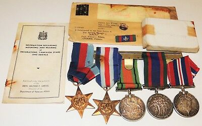 WW1 WW2 Canadian group LETHBRIDGE Alberta 5 medals SILVER CVSM Defense War STARS