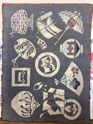Antique Japanese Handmade mulberry paper prints in the katazome style