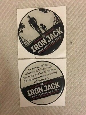 Iron Jack Lager Duo of Acrylic Dome Stickers, Front and Back FREE POSTAGE!