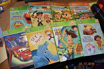Lot of 8 Leap Frog Tag Junior Jr Reader Interactive Books Toy Story, Cars, Dora