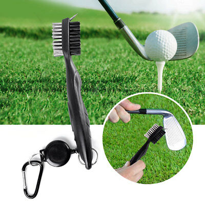 Golf Club Brush Cleaner Ball Cleaning Clip Groove Dual Bristles Sided With Spike