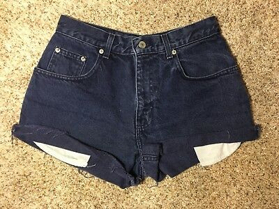 Nuovo High Waist Blue Jeans Shorts 100% Cotton Blue Weft Made In USA Size 29