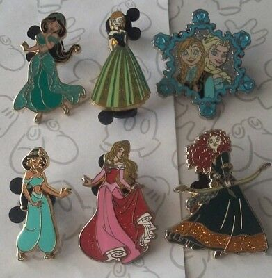 Disney Princess Glitter Dress Gown Sparkle Disney Princesses Pin Make a Set Lot