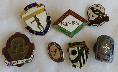 vintage lot 7 enameled sport badges QLD Boxing rugby league silver school +