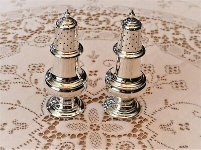 Antique Pair of Currier & Roby Sterling Silver Salt & Pepper Shakers c 1900's