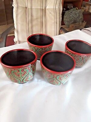 Lacquerware Cups (4)  Late 20Th C. From Bagan.