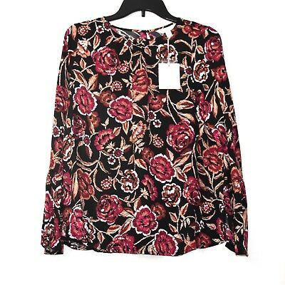AGLOW Bell Sleeve Blouse Top Womens S Mat or Flowy Floral Black Pink White Beige
